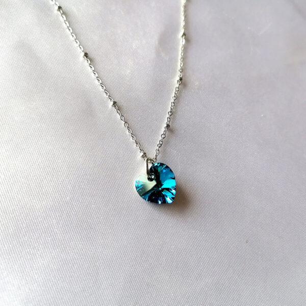 Bermuda Blue SWAROVSKI srce ogrlica